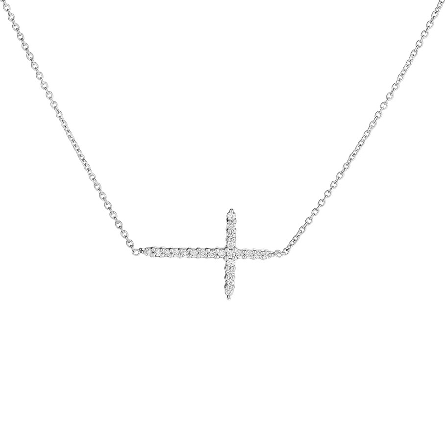 Diamond Small Sideways Cross Pendant
