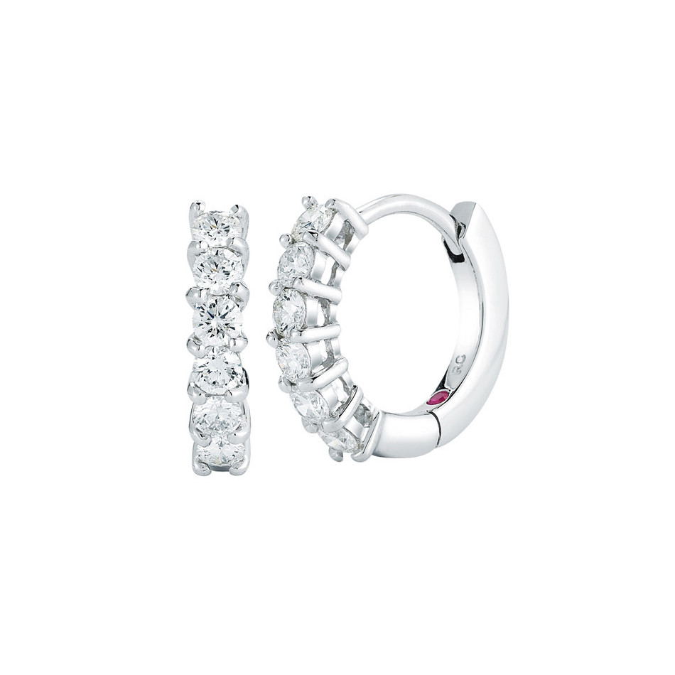 18k White Gold & Diamond Hoop Earrings (0.7ct tw)