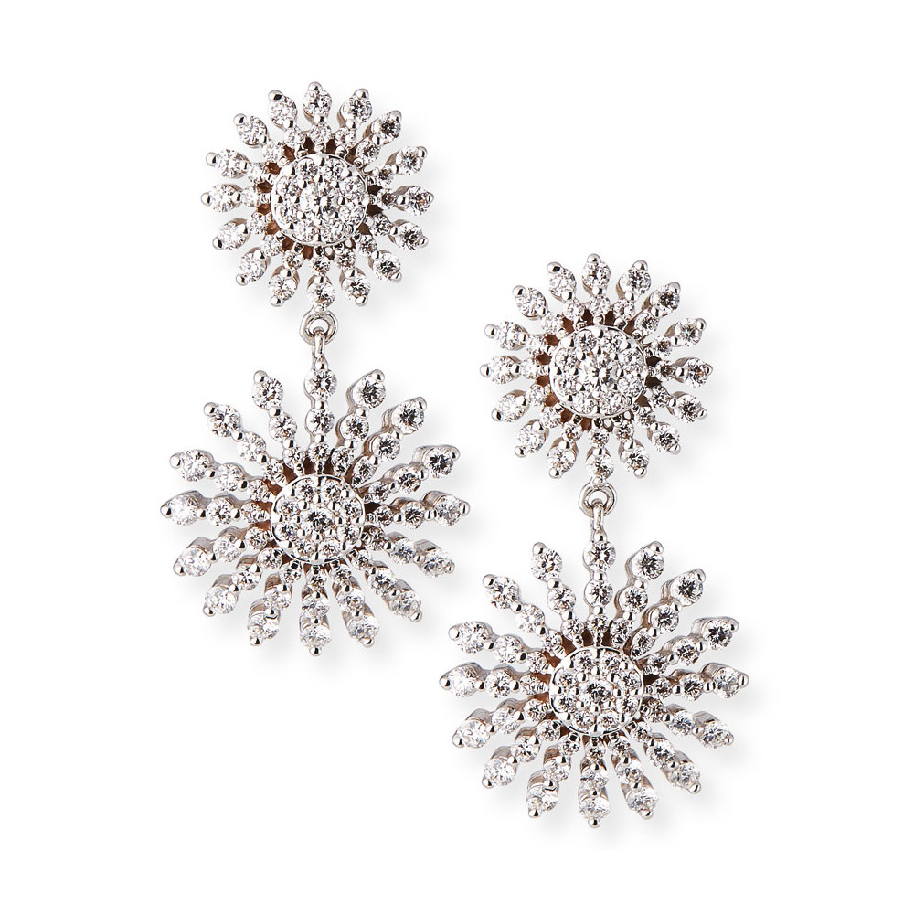 18k White Gold & Diamond Sunburst Drop Earrings