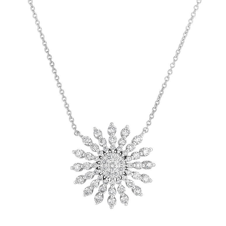 18k White Gold & Diamond Sunburst Pendant