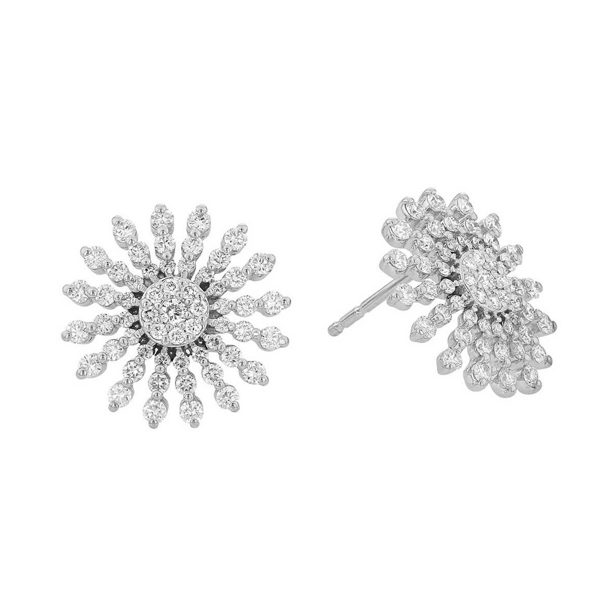 18k White Gold & Diamond Sunburst Stud Earrings