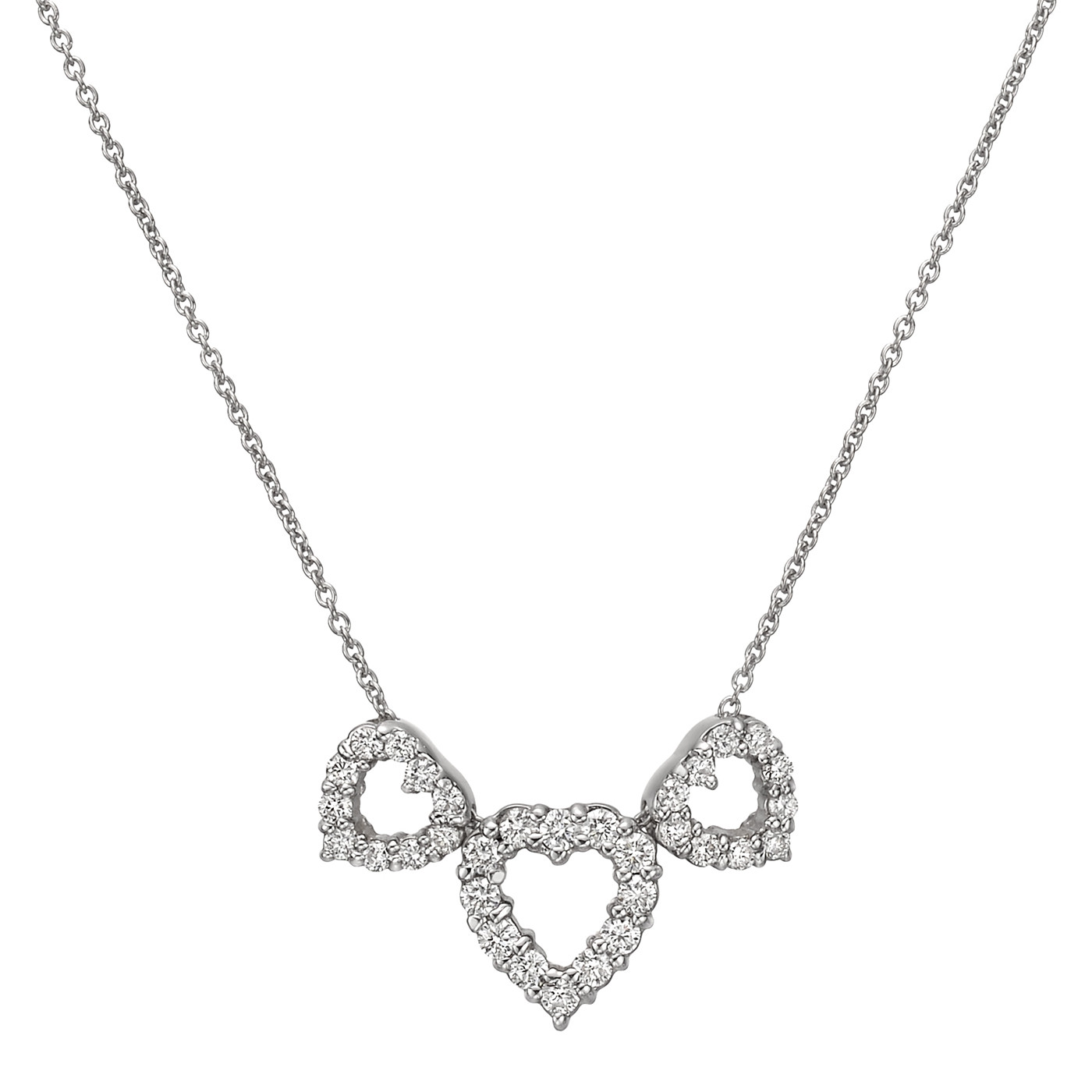 Diamond Three Heart Pendant Necklace
