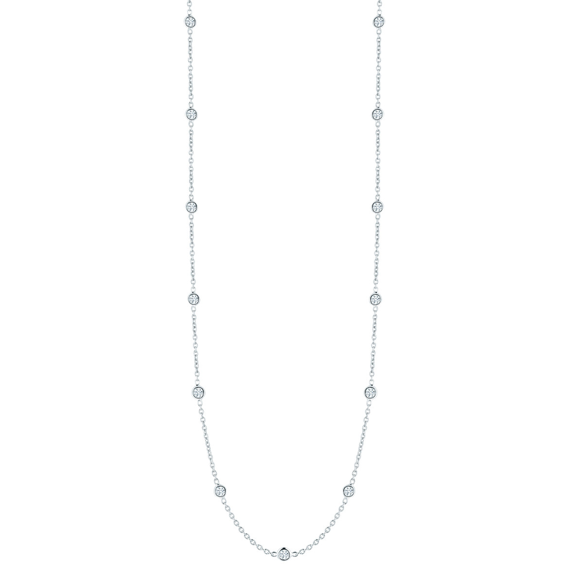 18k White Gold & Fifteen Diamond Station Necklace