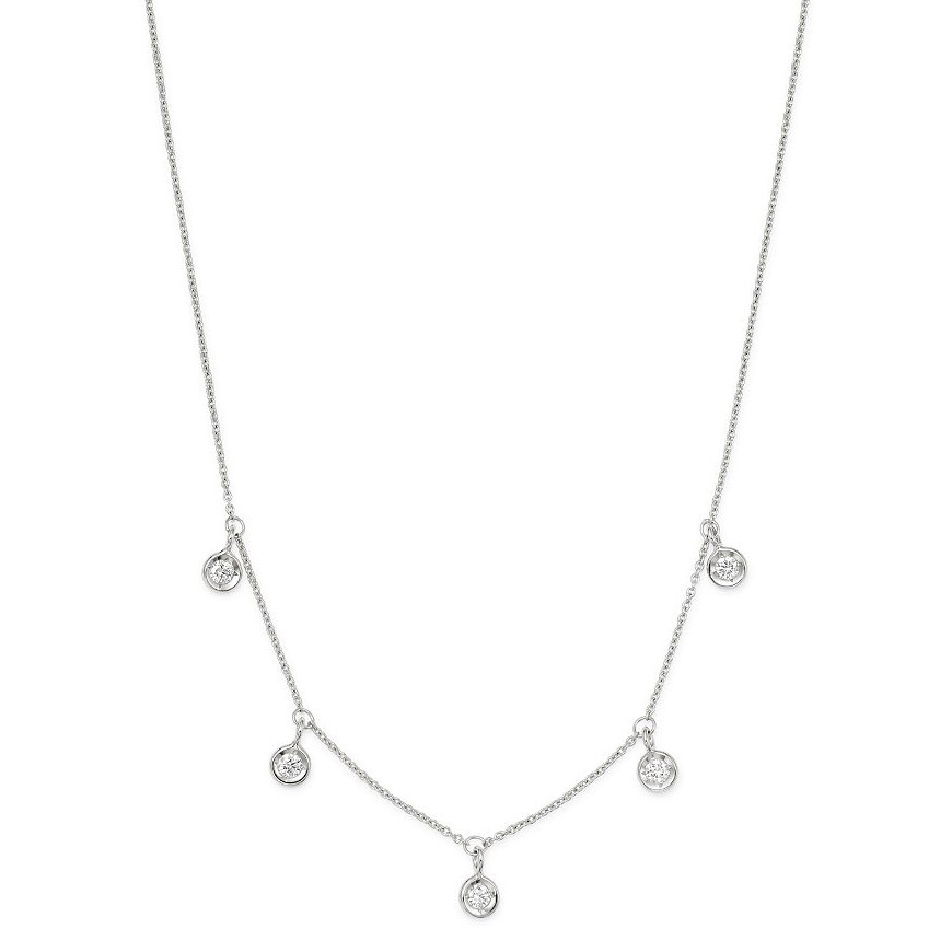 18k White Gold & Five Diamond Drop Chain Necklace