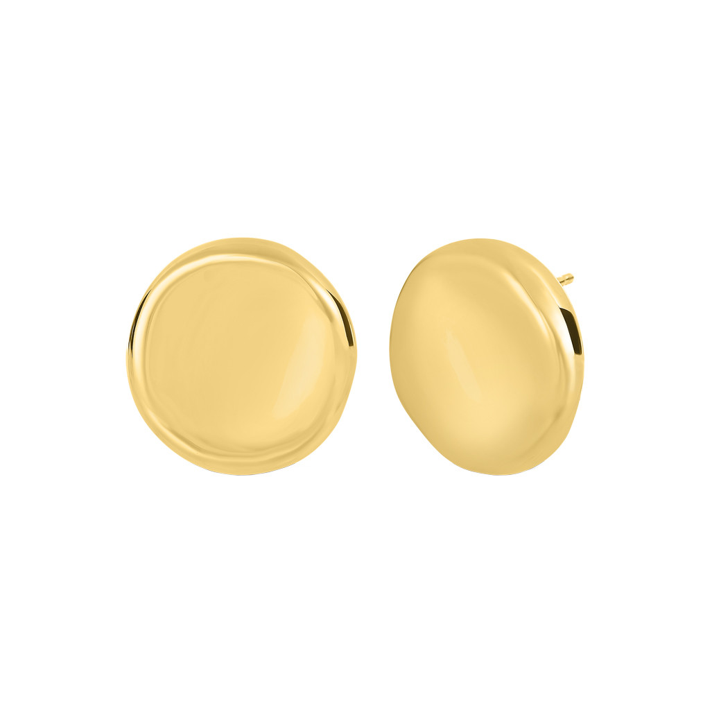 Small 18k Yellow Gold Button Stud Earrings