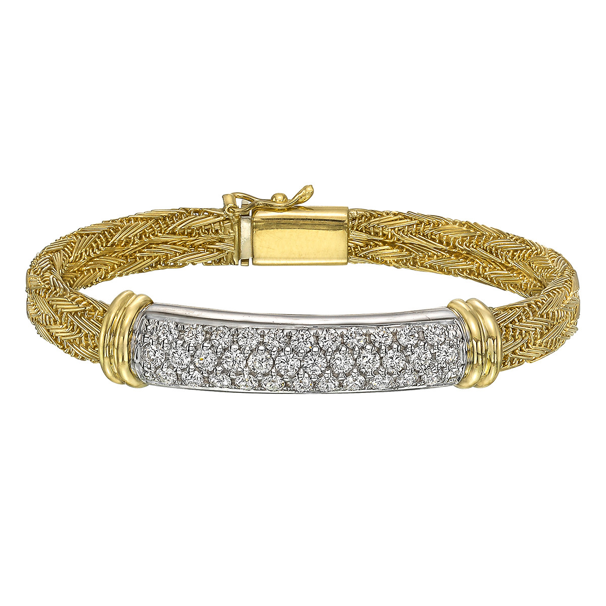 18k Gold Diamond Panel Bracelet