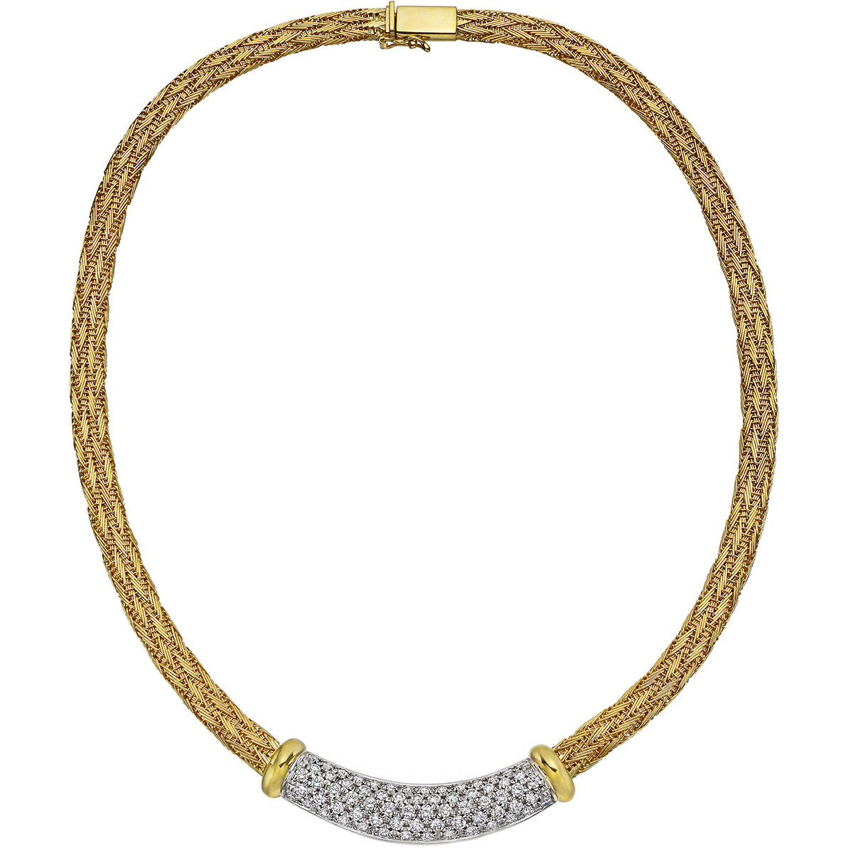 18k Gold Diamond Panel Collar Necklace