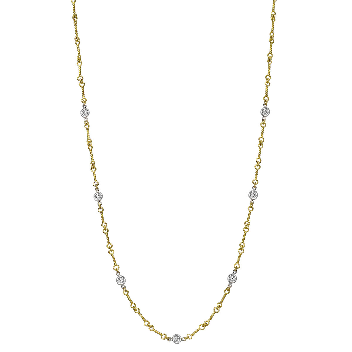 18k Gold & Diamond Dogbone Chain Necklace