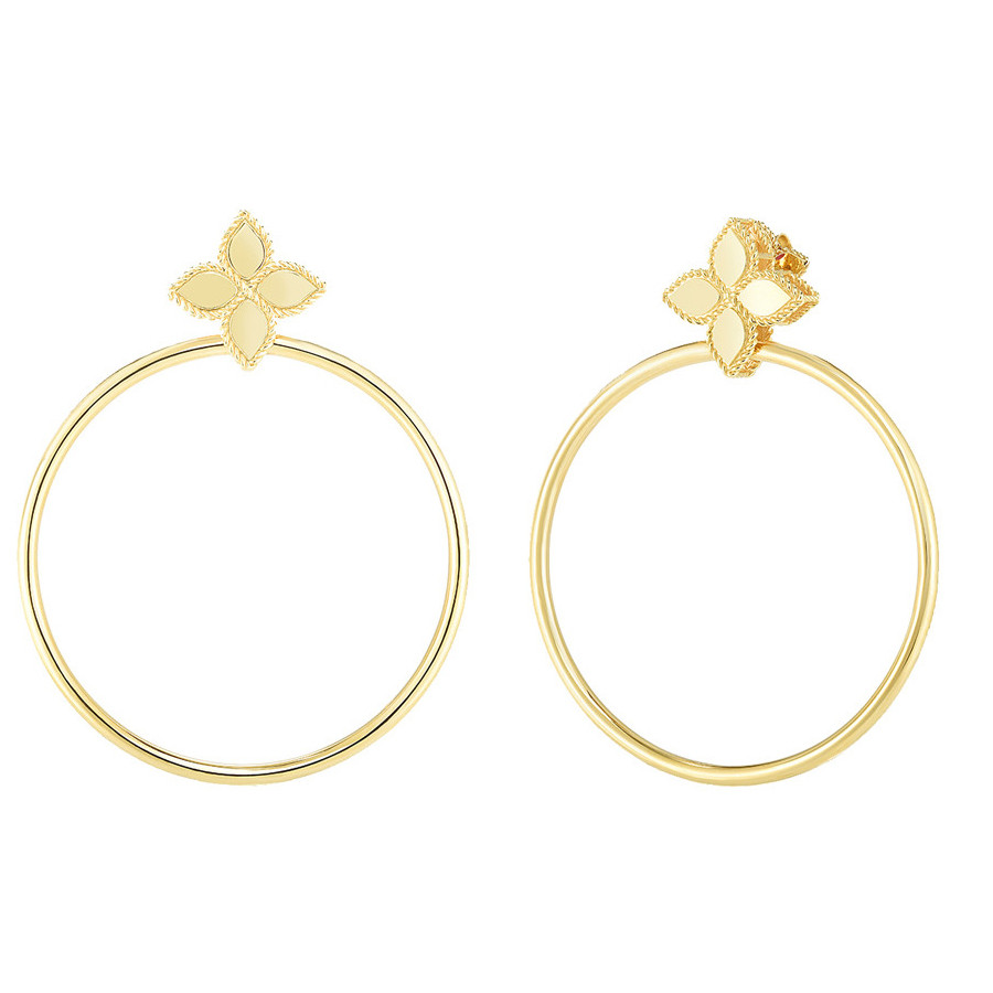 "18k Yellow Gold ""Princess Flower"" Hoop Drop Earrings"
