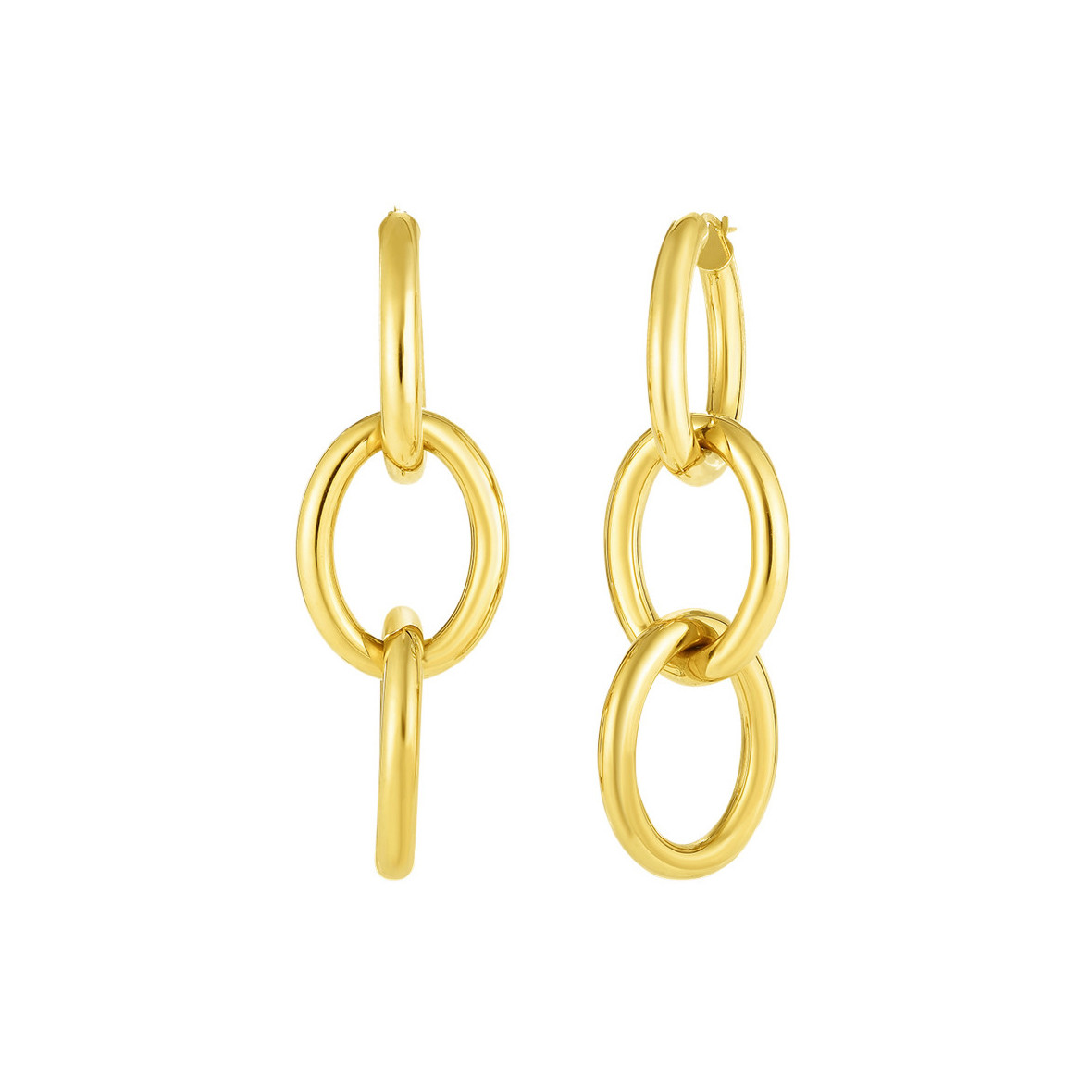 18k Yellow Gold Triple Link Drop Earrings