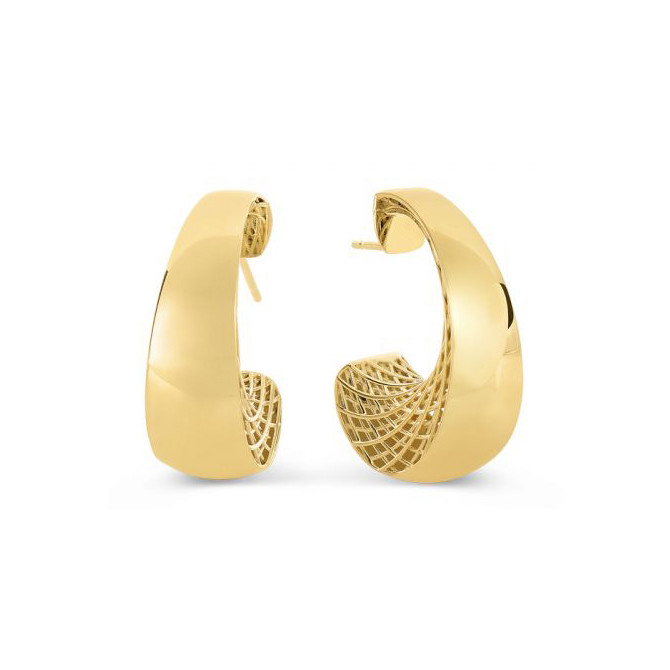 "18k Yellow Gold ""Golden Gate"" Hoop Earrings"