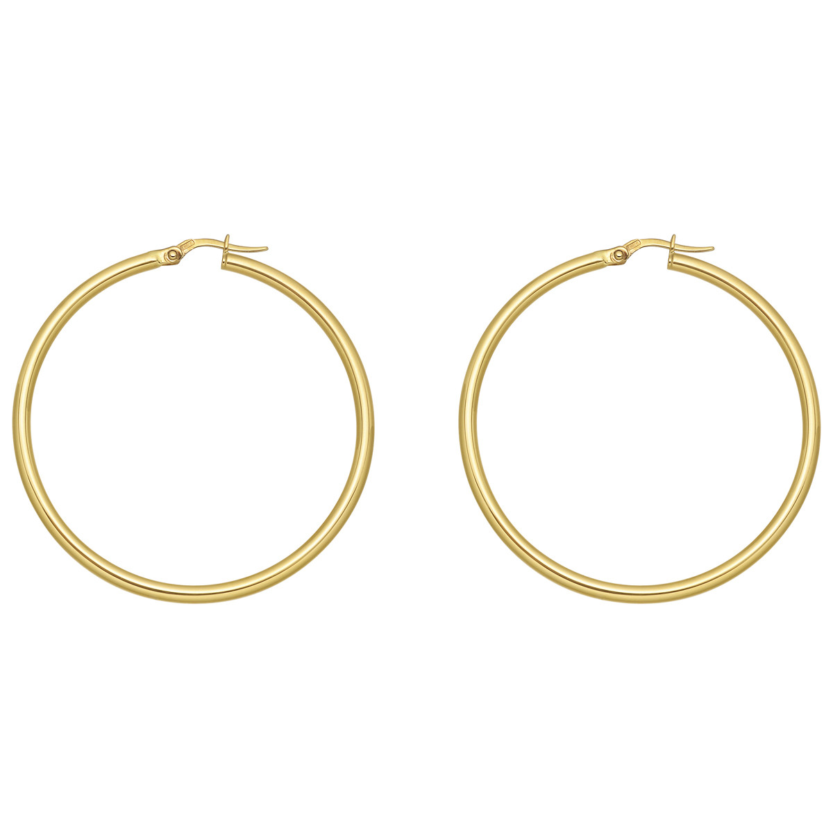 Large 18k Yellow Gold Round Hoop Earrings