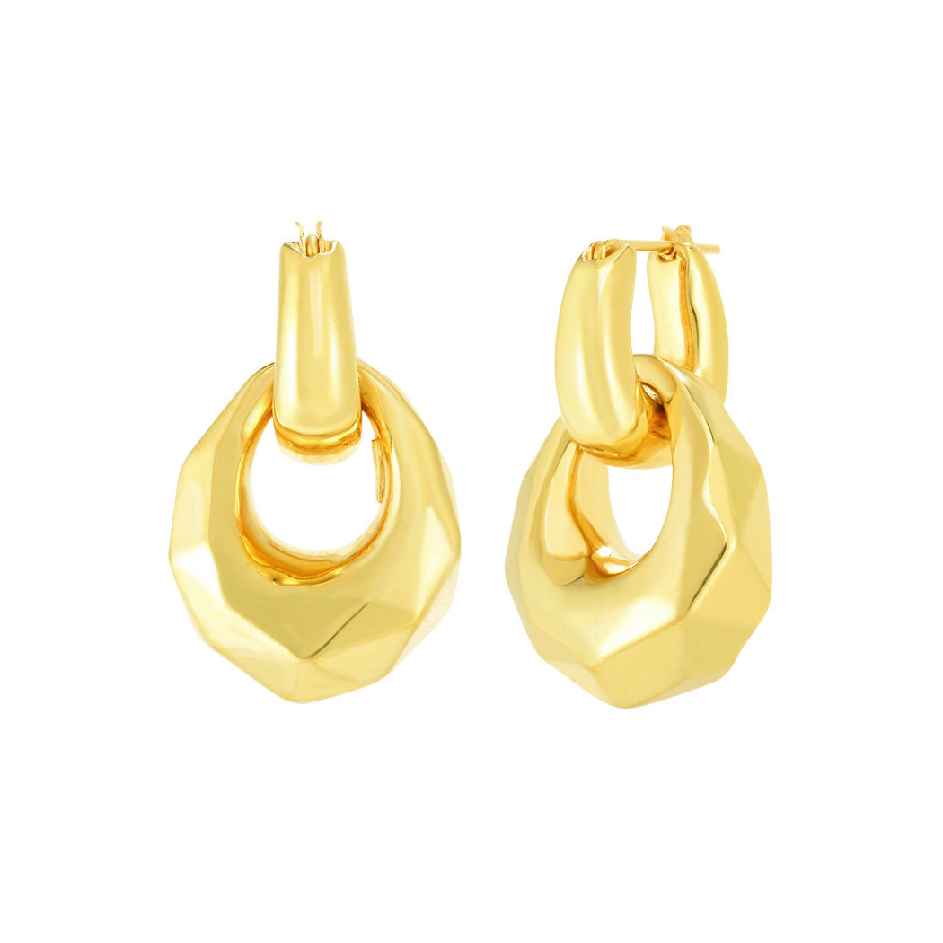 18k Yellow Gold Faceted Door Knocker Earrings