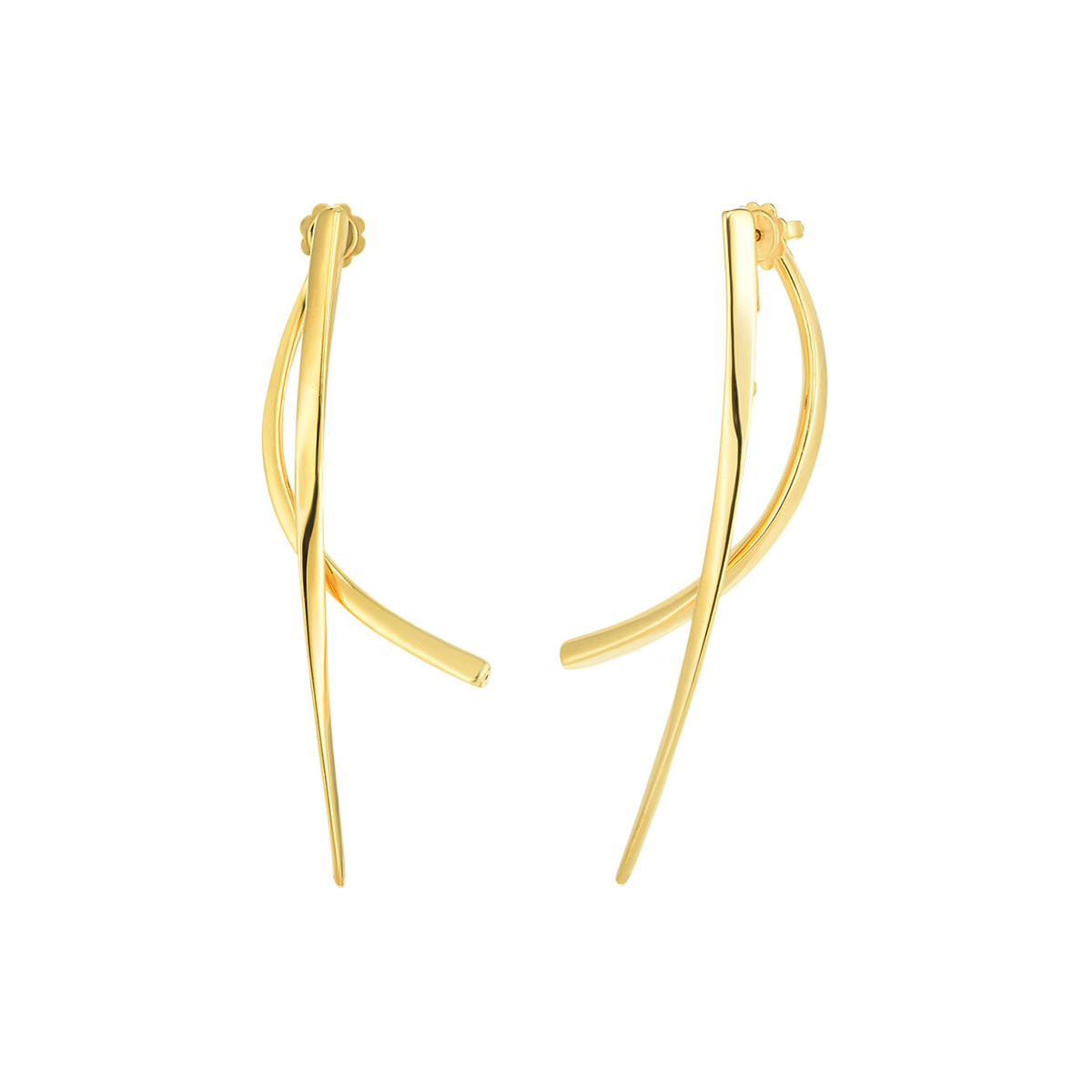 "18k Yellow Gold Curved Bar ""Oro Classic"" Earrings"