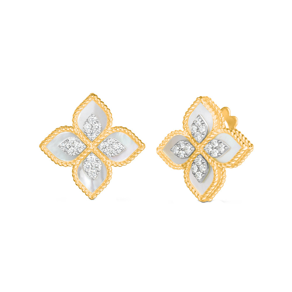 "18k Yellow Gold, Mother-of-Pearl & Diamond ""Princess Flower"" Earrings"
