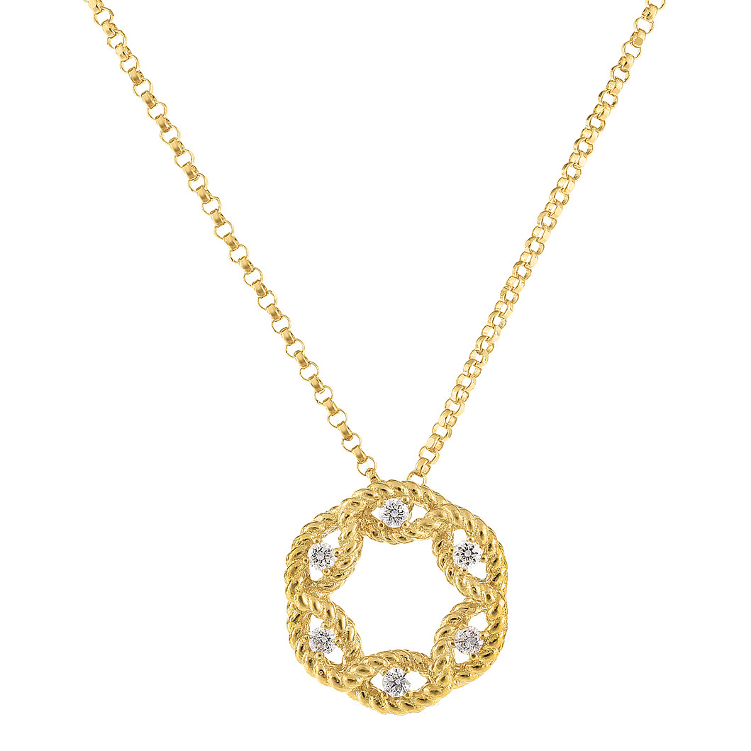 "18k Yellow Gold & Diamond ""New Barocco"" Circle Pendant"
