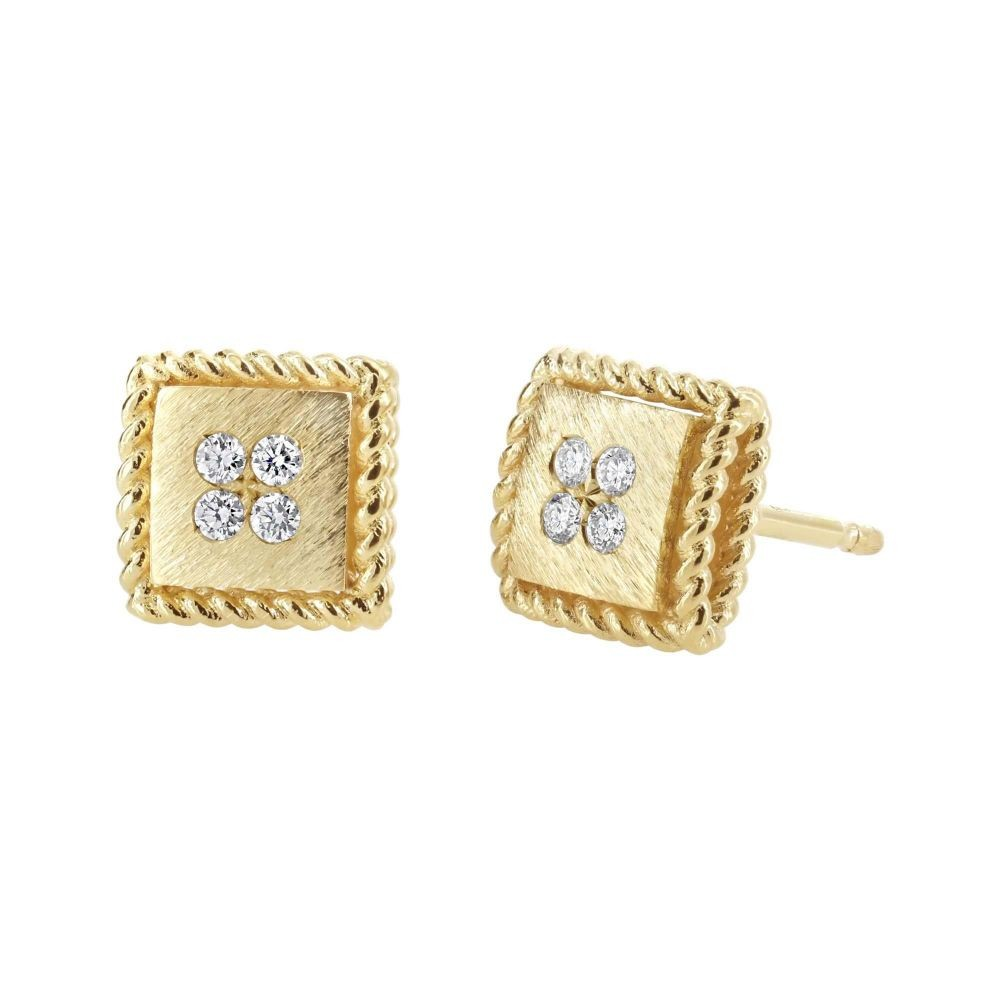"18k Yellow Gold & Diamond ""Palazzo Ducale"" Stud Earrings"