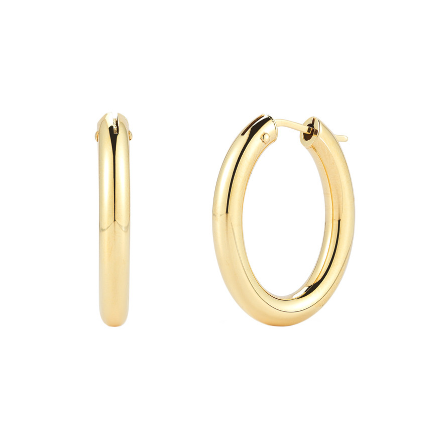 Medium 18k Yellow Gold Round Hoop Earrings