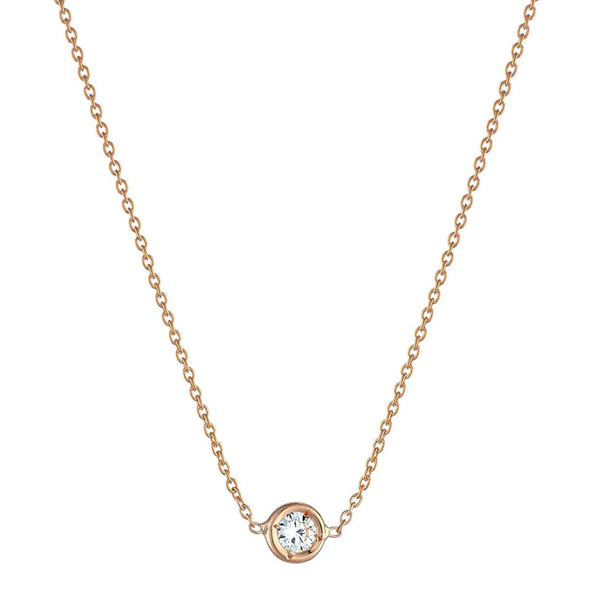 18k Pink Gold 0.10ct Diamond Solitaire Pendant