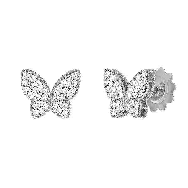 18k White Gold & Diamond Princess Butterfly Stud Earrings