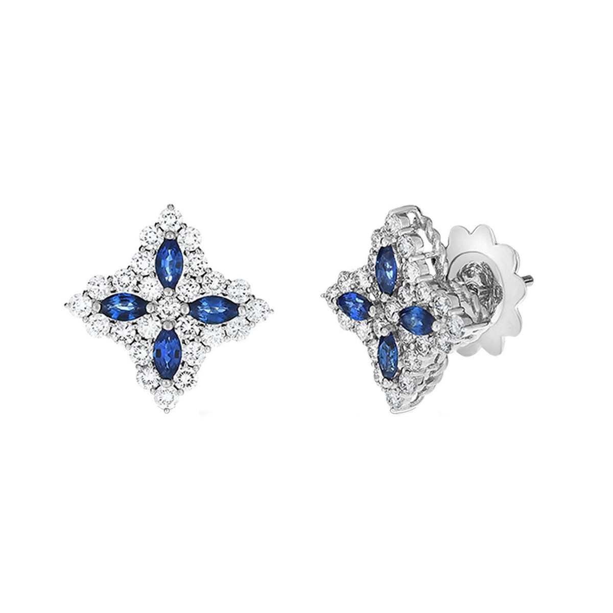 "Medium Sapphire & Diamond ""Princess Flower"" Earrings"