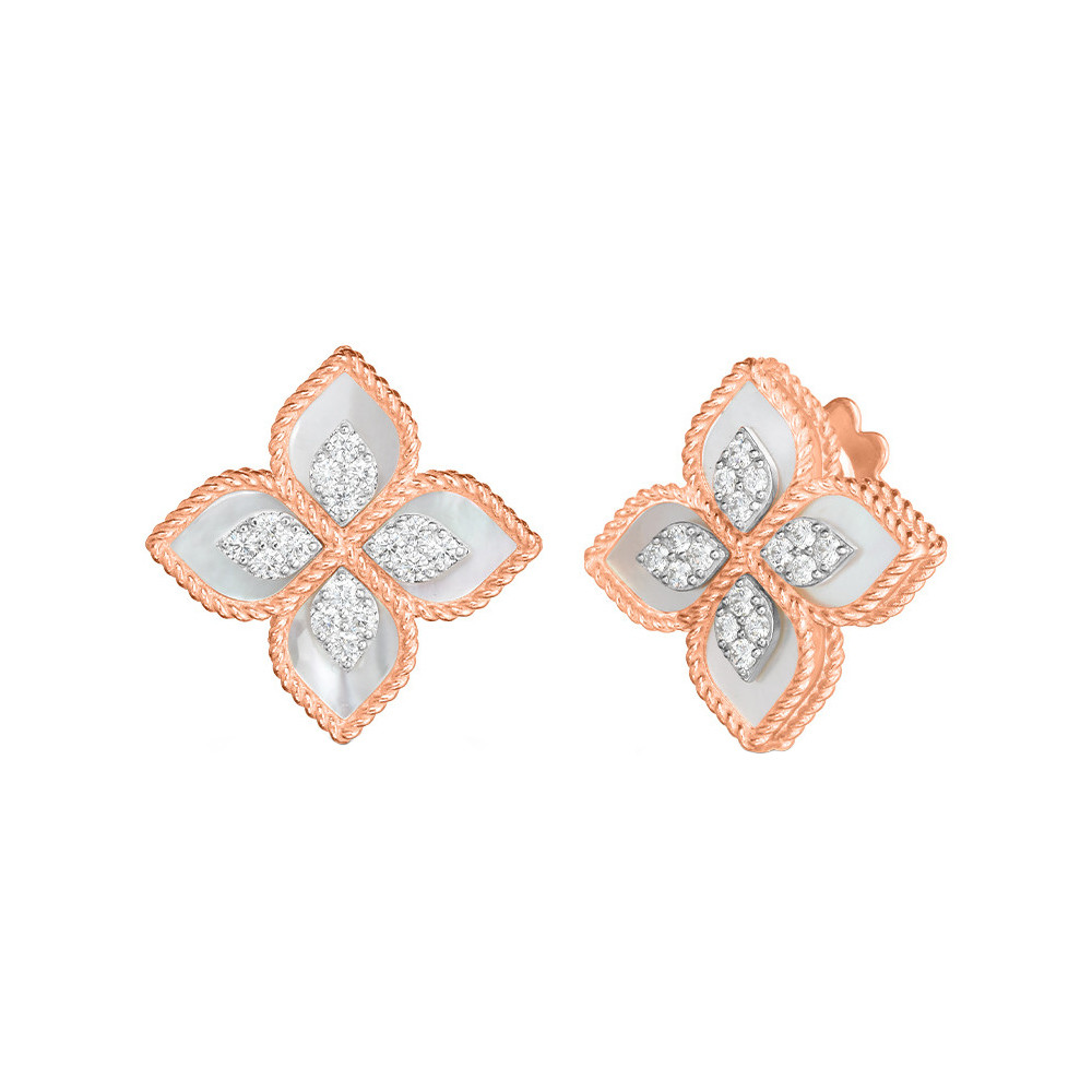 "18k Rose Gold, Mother-of-Pearl & Diamond ""Princess Flower"" Earrings"
