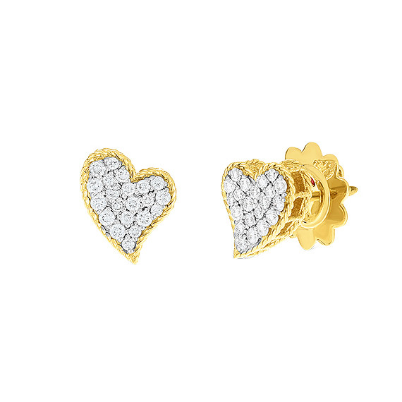 18k Gold & Diamond Princess Heart Stud Earrings