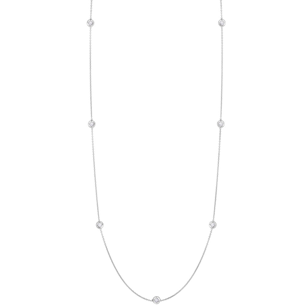 18k White Gold & Seven Diamond Chain Necklace