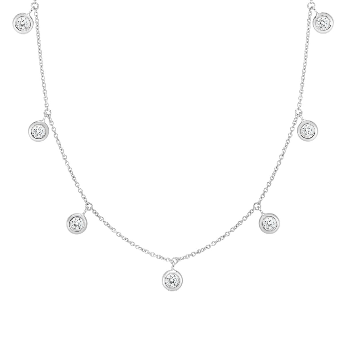 18k White Gold Bezel-Set Diamond Dangle Necklace