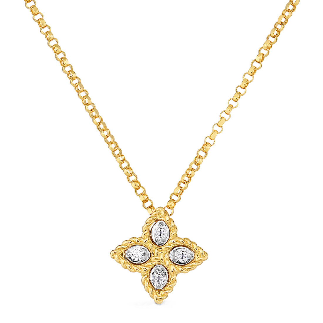 "Small 18k Yellow Gold & Diamond ""Princess Flower"" Pendant"