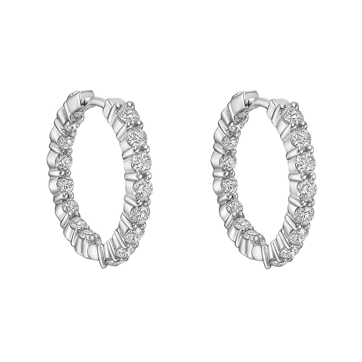 Small Inside Outside Diamond Hoop Earrings (2.35ct tw)