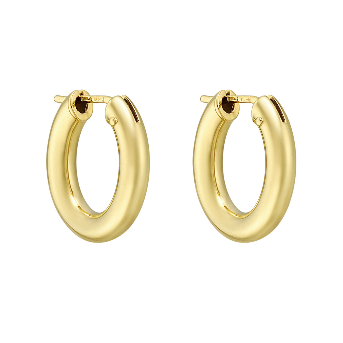 Small 18k Yellow Gold Oval Hoop Earrings