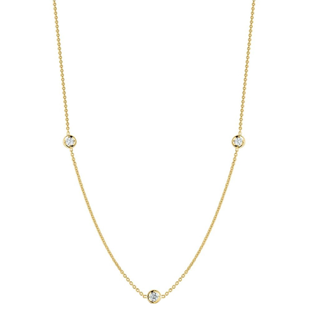 18k Yellow Gold & Three Diamond Chain Necklace