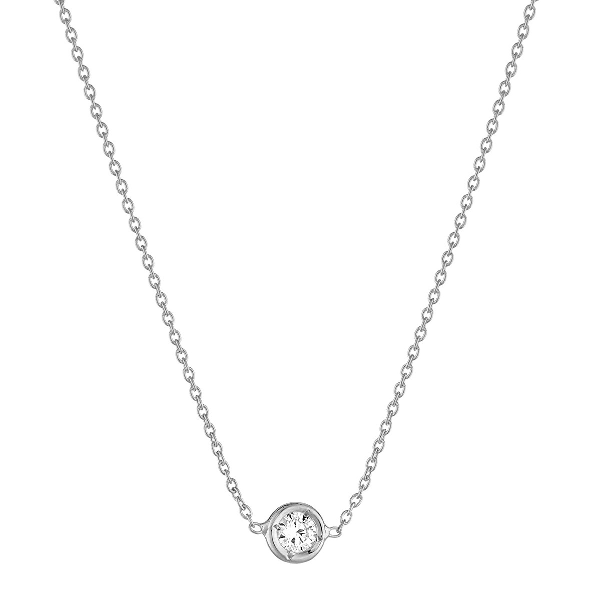 18k White Gold 0.10ct Diamond Solitaire Pendant