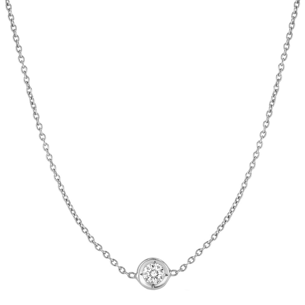 18k White Gold Bezel-Set Diamond Solitaire Pendant