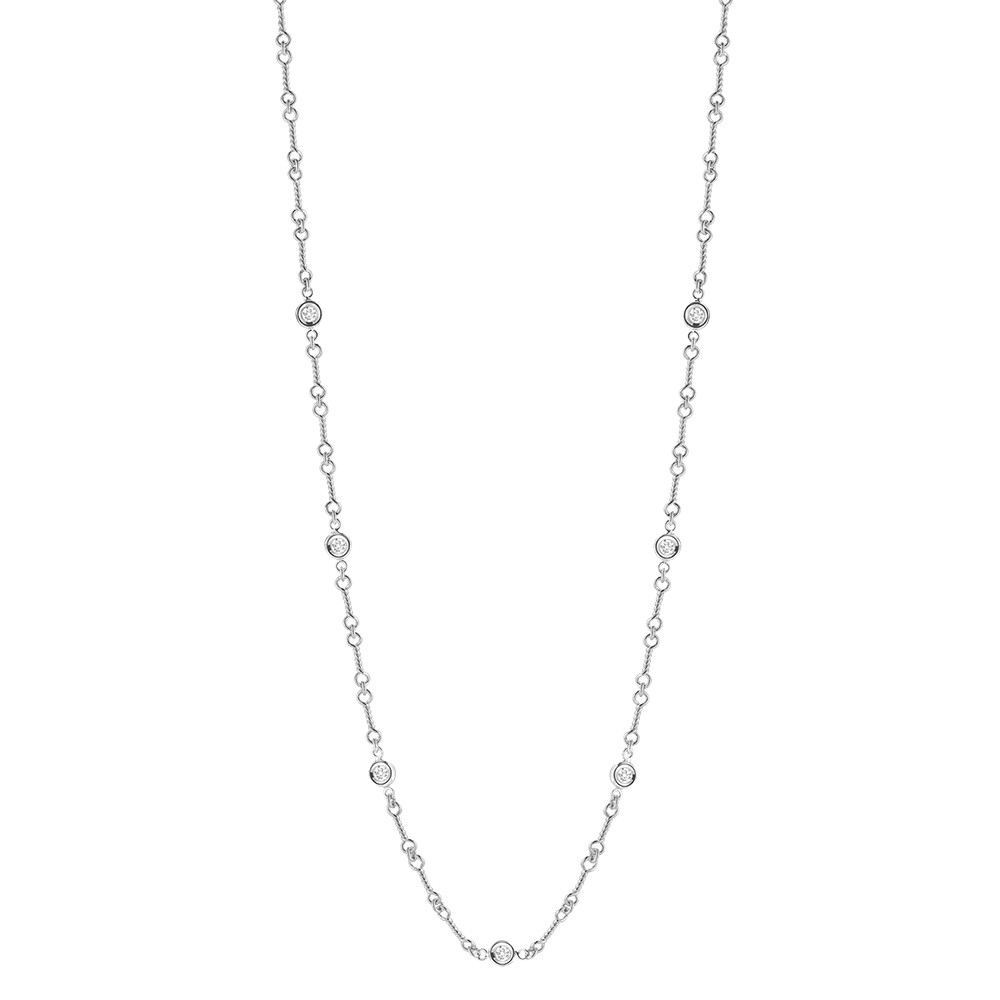 18k White Gold & Diamond Dogbone Chain Necklace
