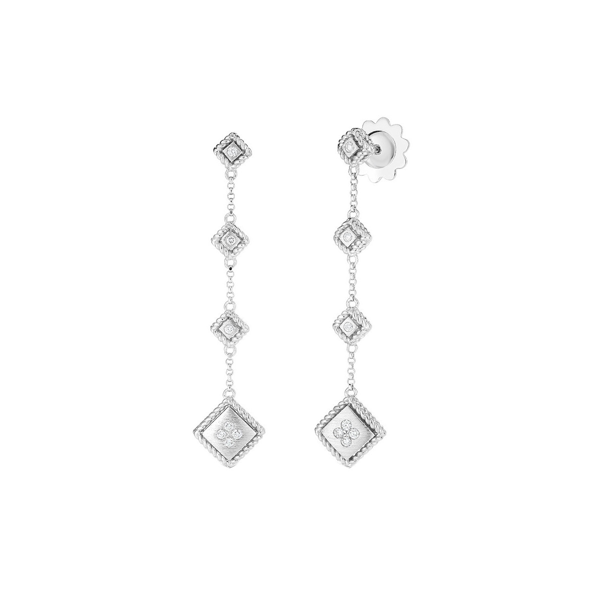 "18k White Gold & Diamond ""Palazzo Ducale"" Drop Earrings"