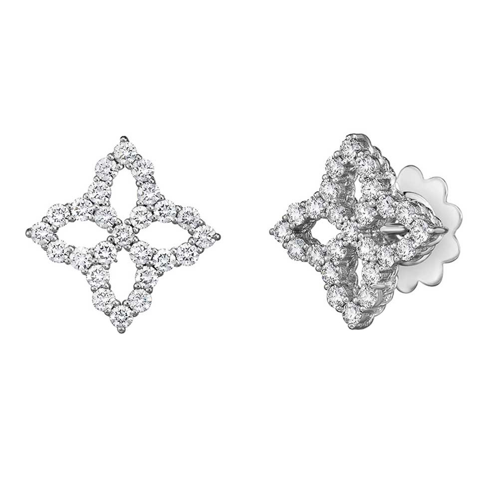 "Medium 18k White Gold & Diamond ""Princess Flower"" Stud Earrings"