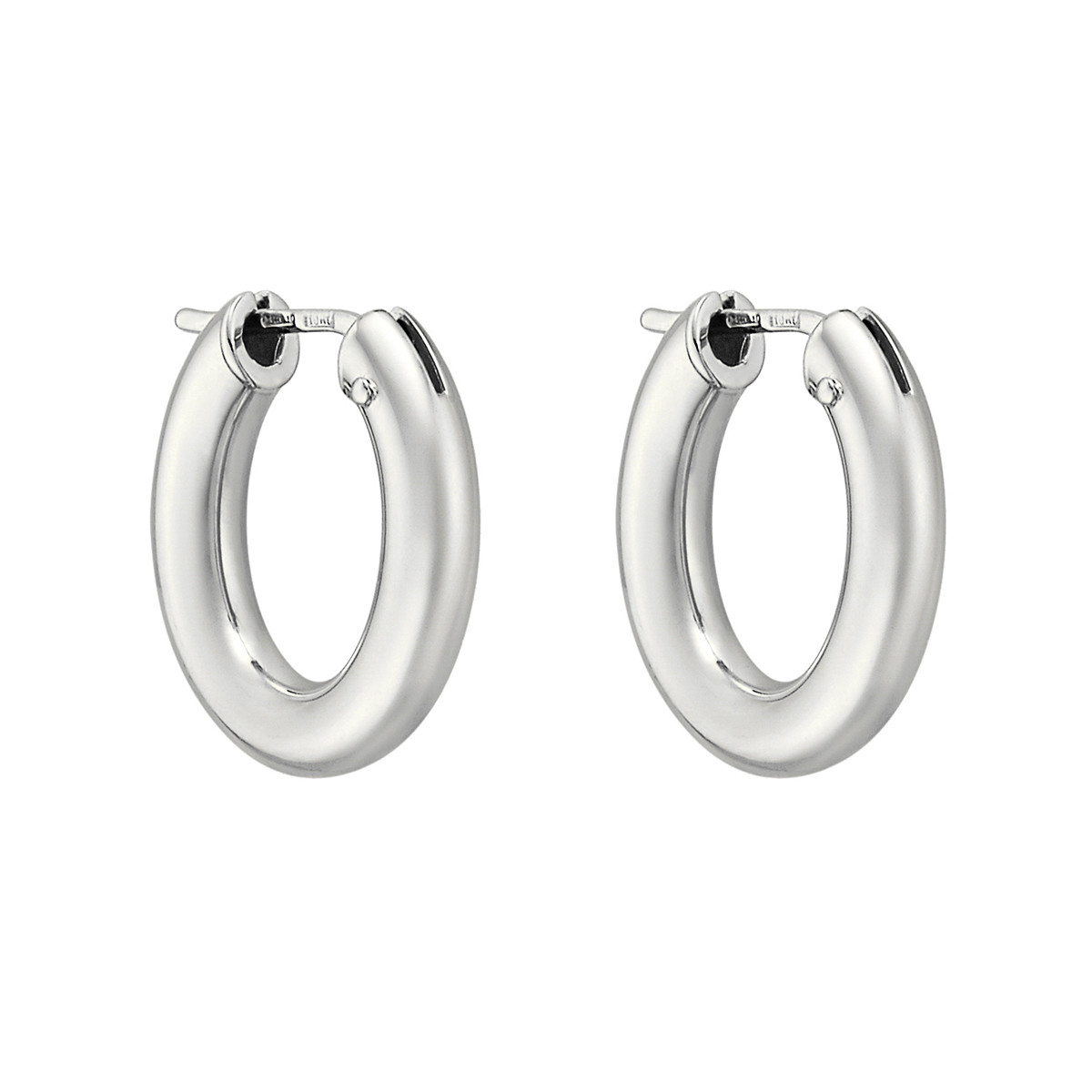 Small 18k White Gold Oval Hoop Earrings