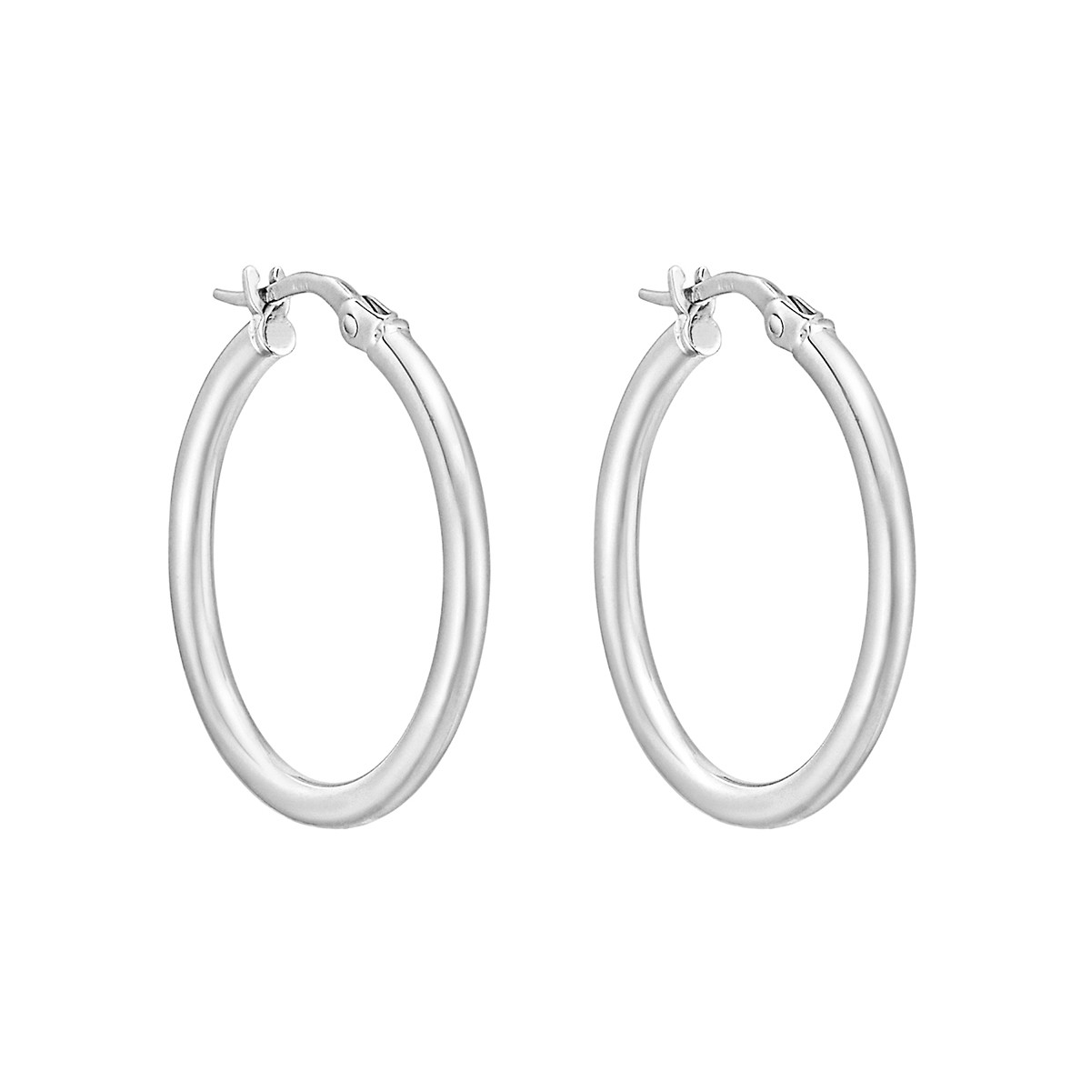 Medium 18k White Gold Round Hoop Earrings