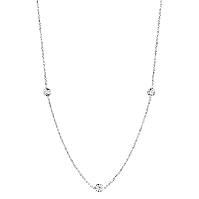 18k White Gold & Three Diamond Station Necklace