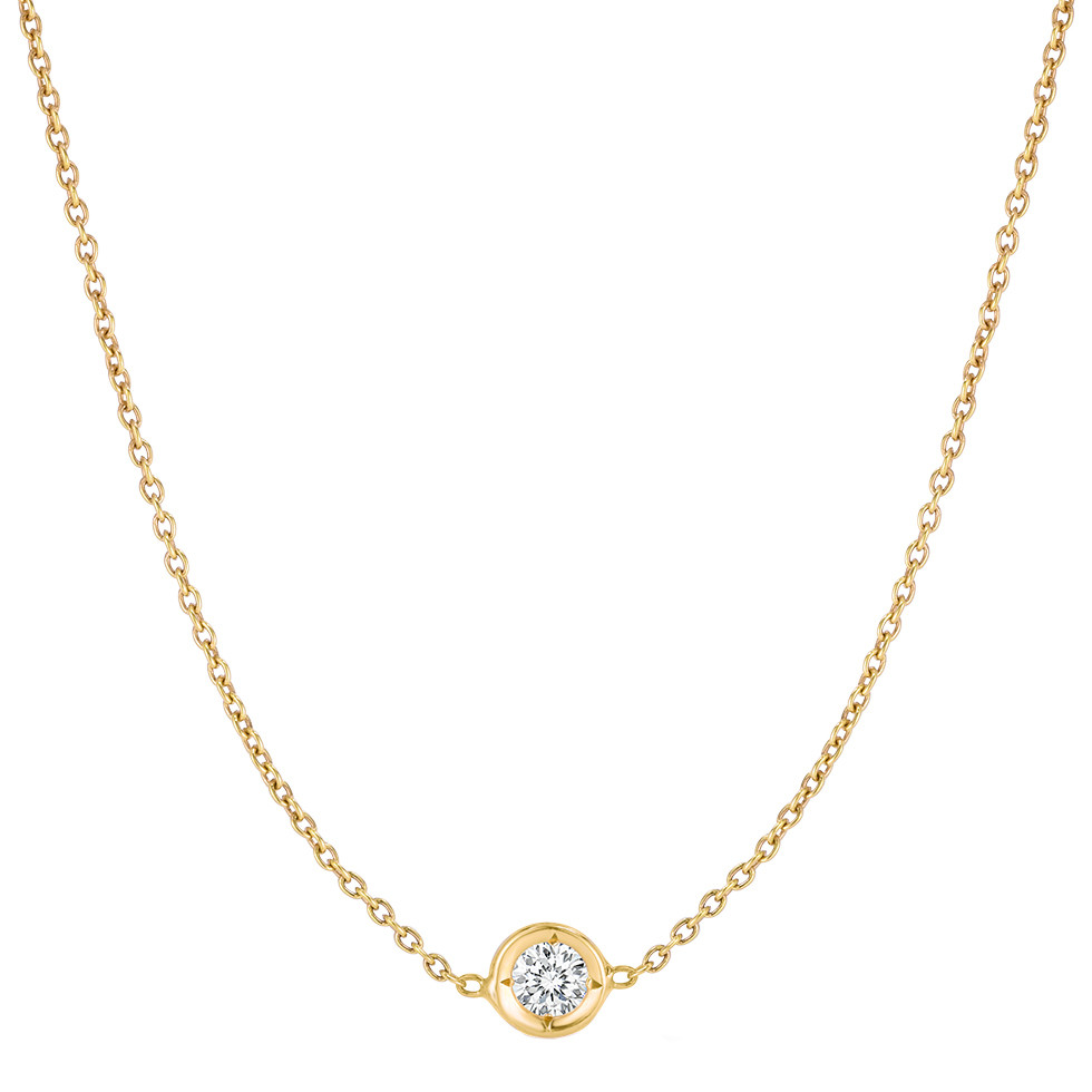 18k Yellow Gold Bezel-Set Diamond Solitaire Pendant