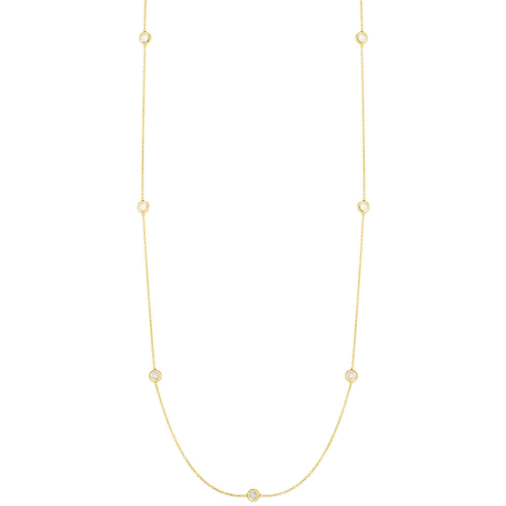 18k Yellow Gold & Seven Diamond Chain Necklace