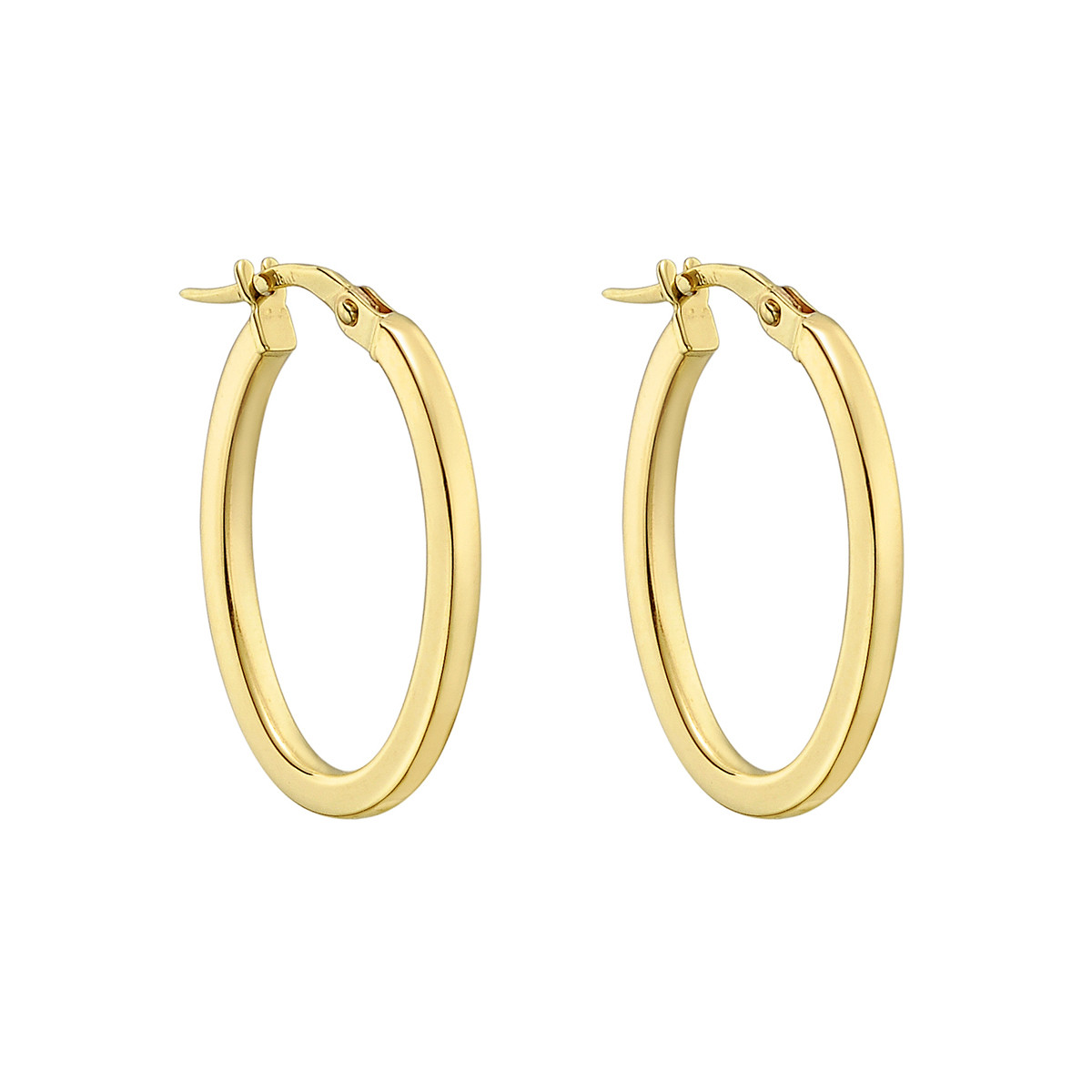 Medium 18k Yellow Gold Oval Hoop Earrings