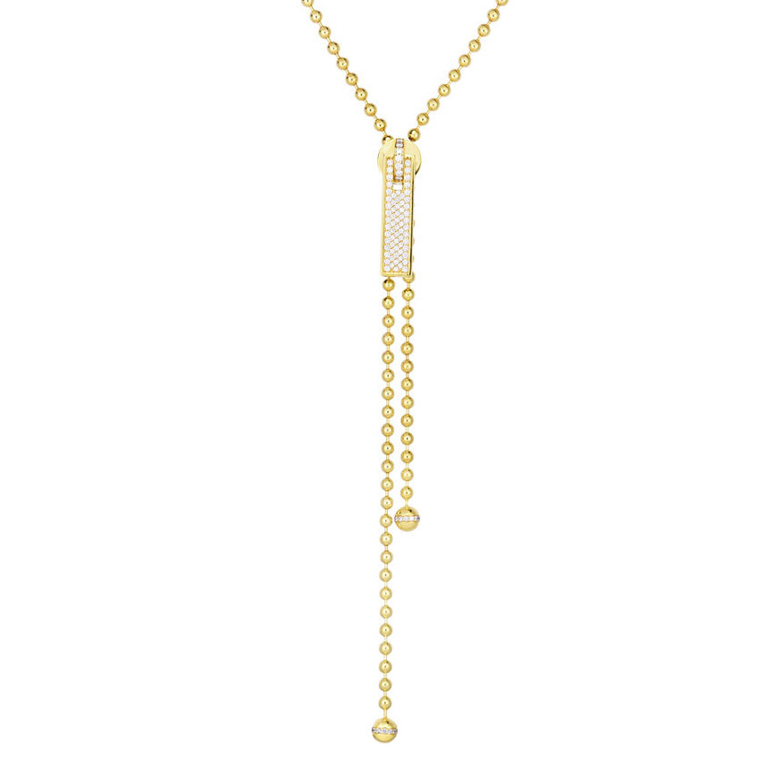 18k Yellow Gold & Diamond Zipper Necklace