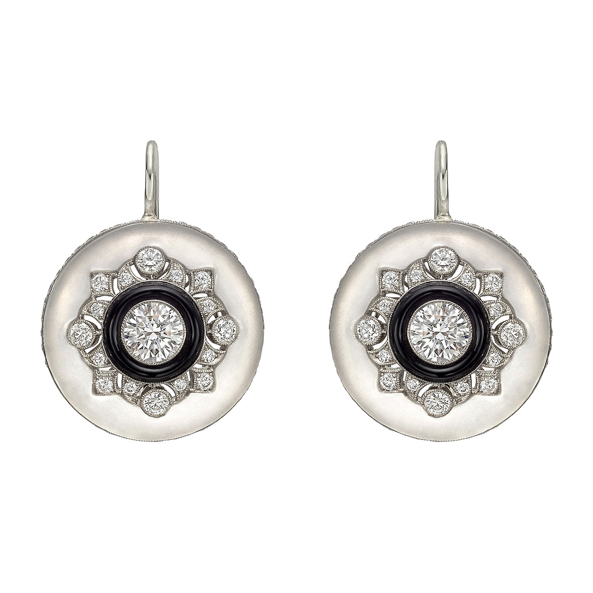 Rock Crystal, Diamond & Black Onyx Drop Earrings