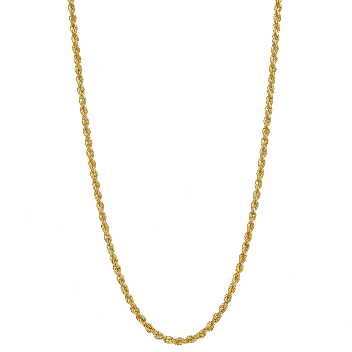 14k Yellow Gold Twisted Rope Long Chain Necklace