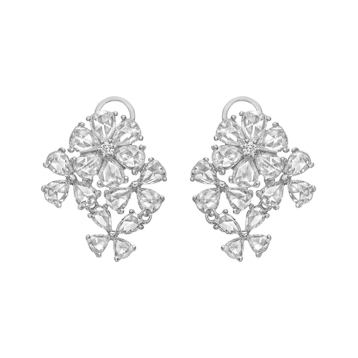 Rose-Cut Diamond 4-Flower Cluster Earrings