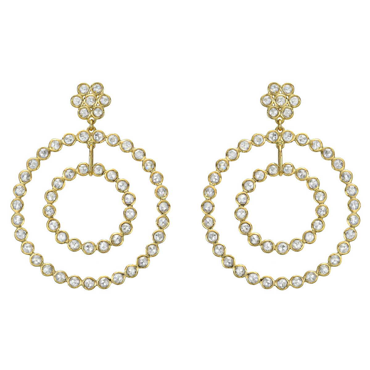 Rose-Cut Diamond Double Circle Drop Earrings