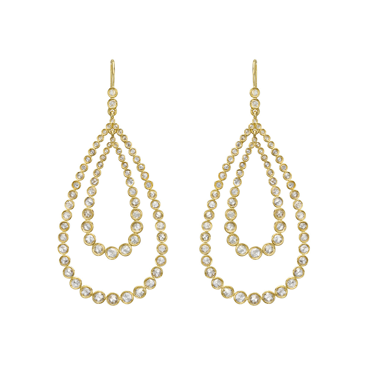Rose-Cut Diamond Double Pear Drop Earrings